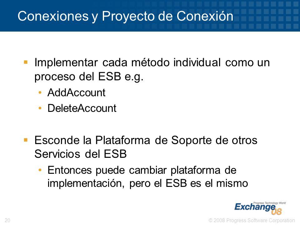 © 2008 Progress Software Corporation20 Conexiones y Proyecto de Conexión Implementar cada método individual como un proceso del ESB e.g. AddAccount De