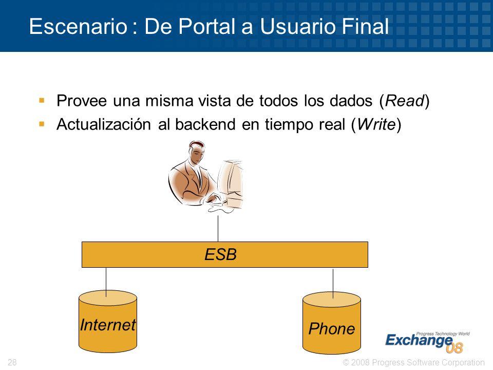 © 2008 Progress Software Corporation28 Escenario : De Portal a Usuario Final Provee una misma vista de todos los dados (Read) Actualización al backend