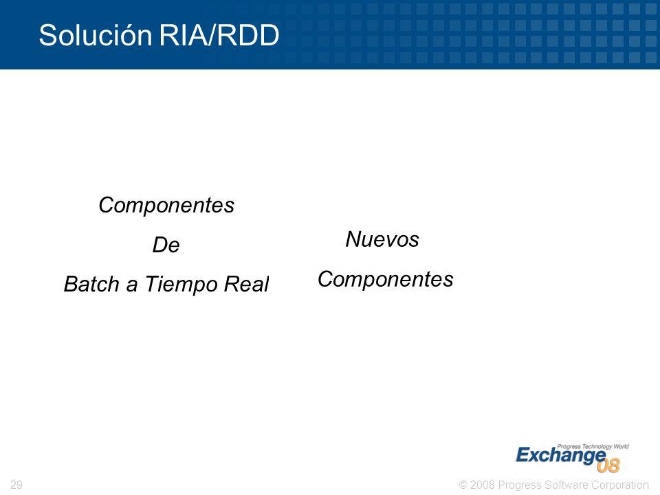 © 2008 Progress Software Corporation29 Solución RIA/RDD Componentes De Batch a Tiempo Real Nuevos Componentes