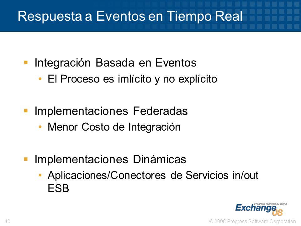 © 2008 Progress Software Corporation40 Respuesta a Eventos en Tiempo Real Integración Basada en Eventos El Proceso es imlícito y no explícito Implemen