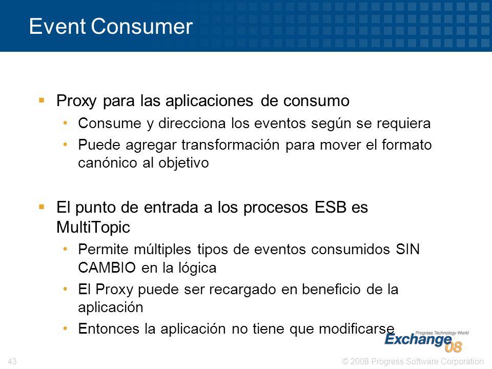 © 2008 Progress Software Corporation43 Event Consumer Proxy para las aplicaciones de consumo Consume y direcciona los eventos según se requiera Puede