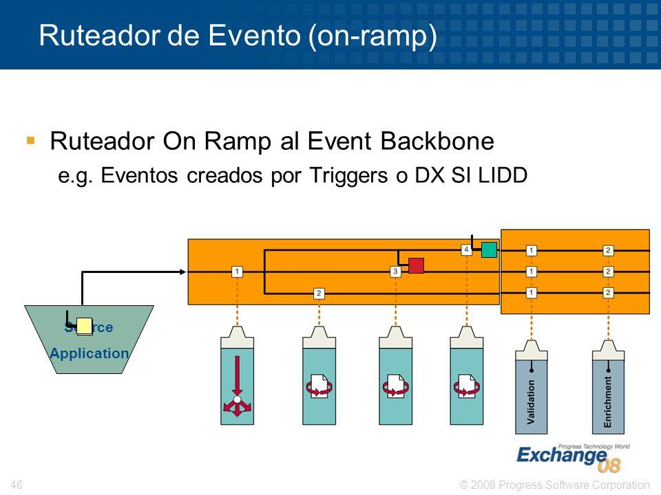 © 2008 Progress Software Corporation46 Ruteador de Evento (on-ramp) Source Application Ruteador On Ramp al Event Backbone e.g. Eventos creados por Tri