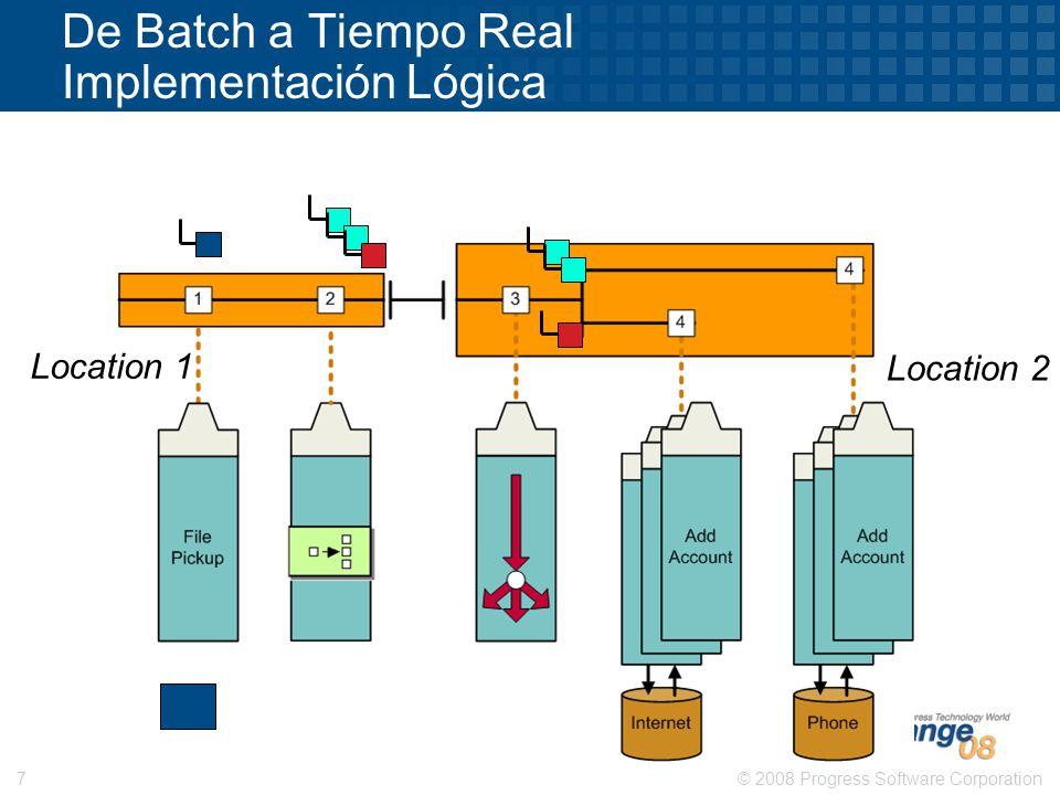 © 2008 Progress Software Corporation7 De Batch a Tiempo Real Implementación Lógica Location 1 Location 2