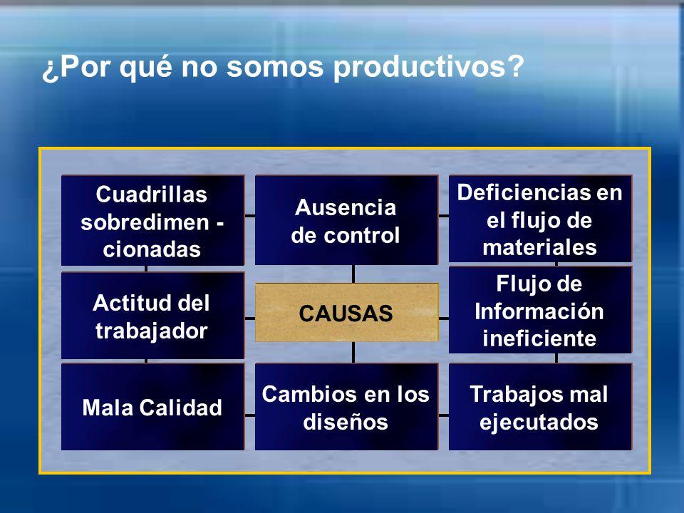 ¿Por qué no somos productivos? Ausencia de control Deficiencias en el flujo de materiales Trabajos mal ejecutados Cuadrillas sobredimen - cionadas Cam