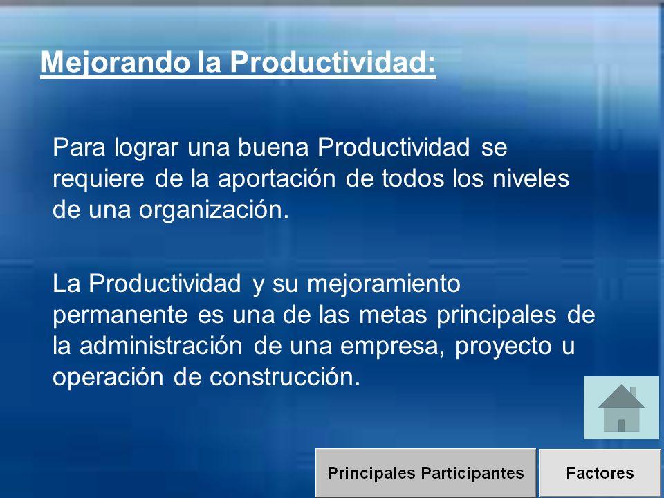 Para lograr una buena Productividad se requiere de la aportación de todos los niveles de una organización. La Productividad y su mejoramiento permanen