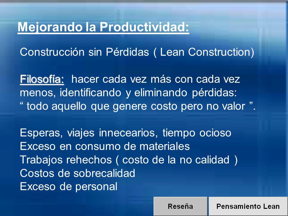 Filosofía: Construcción sin Pérdidas ( Lean Construction) Filosofía: hacer cada vez más con cada vez menos, identificando y eliminando pérdidas: todo