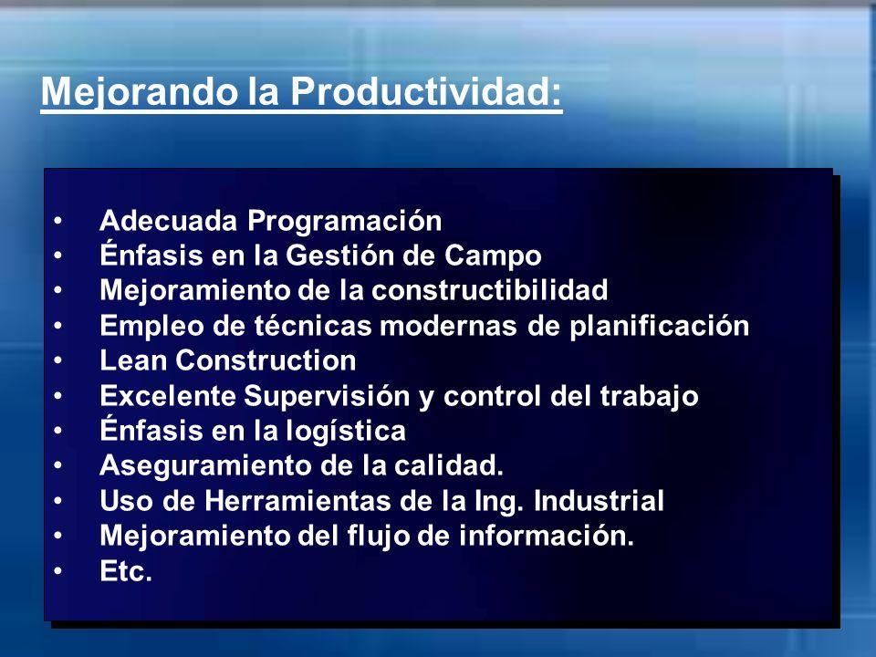 Mejorando la Productividad: Adecuada Programación Énfasis en la Gestión de Campo Mejoramiento de la constructibilidad Empleo de técnicas modernas de p
