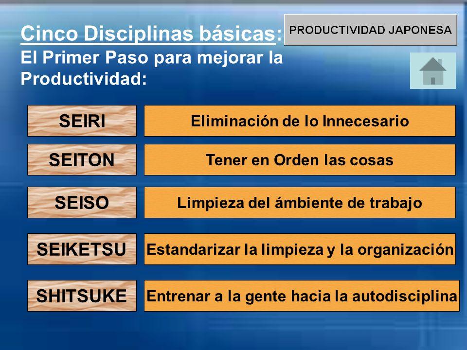 Cinco Disciplinas básicas: El Primer Paso para mejorar la Productividad: SEIRI Eliminación de lo Innecesario SEITON SEISO SEIKETSU SHITSUKE Limpieza d