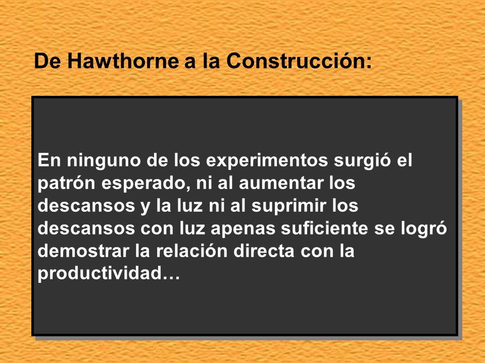 De Hawthorne a la Construcción: Los Estudios Hawthorne realizados en la planta de Hawthorne ( Chicago ) Wertern Electric Company tuvieron que desviar