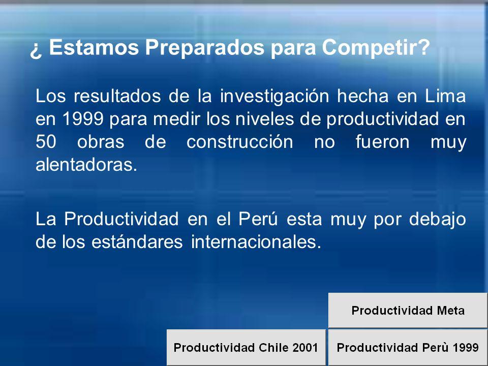 ¿ Estamos Preparados para Competir? Los resultados de la investigación hecha en Lima en 1999 para medir los niveles de productividad en 50 obras de co