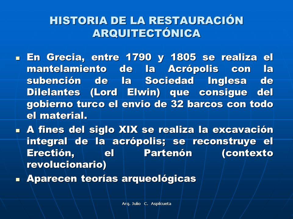 HISTORIA DE LA RESTAURACIÓN ARQUITECTÓNICA En Grecia, entre 1790 y 1805 se realiza el mantelamiento de la Acrópolis con la subención de la Sociedad In