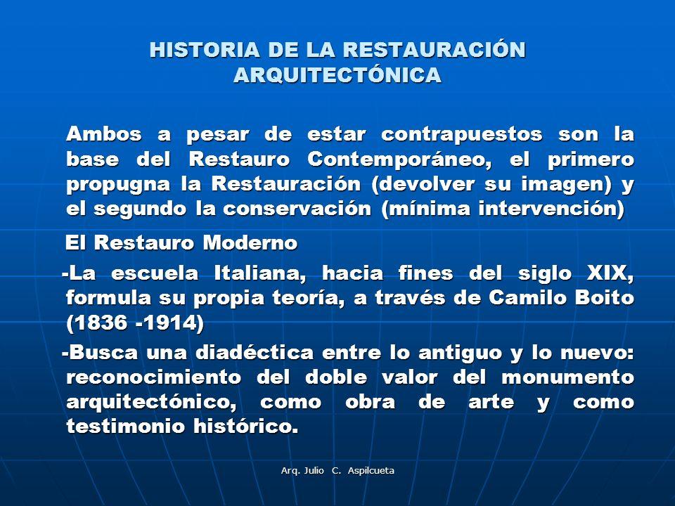 Arq. Julio C. Aspilcueta HISTORIA DE LA RESTAURACIÓN ARQUITECTÓNICA Ambos a pesar de estar contrapuestos son la base del Restauro Contemporáneo, el pr