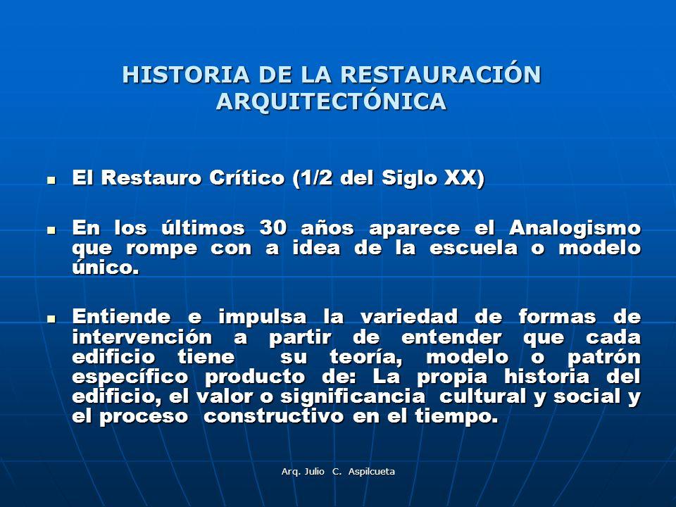 Arq. Julio C. Aspilcueta El Restauro Crítico (1/2 del Siglo XX) El Restauro Crítico (1/2 del Siglo XX) En los últimos 30 años aparece el Analogismo qu