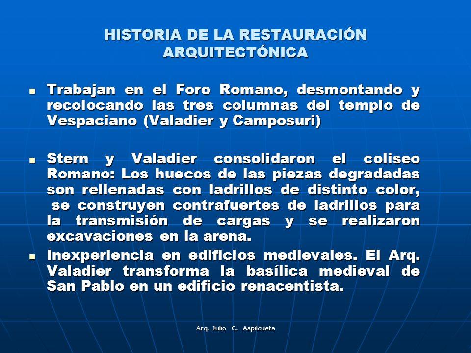 HISTORIA DE LA RESTAURACIÓN ARQUITECTÓNICA Trabajan en el Foro Romano, desmontando y recolocando las tres columnas del templo de Vespaciano (Valadier