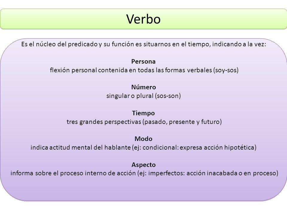 Verbo Es el núcleo del predicado y su función es situarnos en el tiempo, indicando a la vez: Persona flexión personal contenida en todas las formas ve