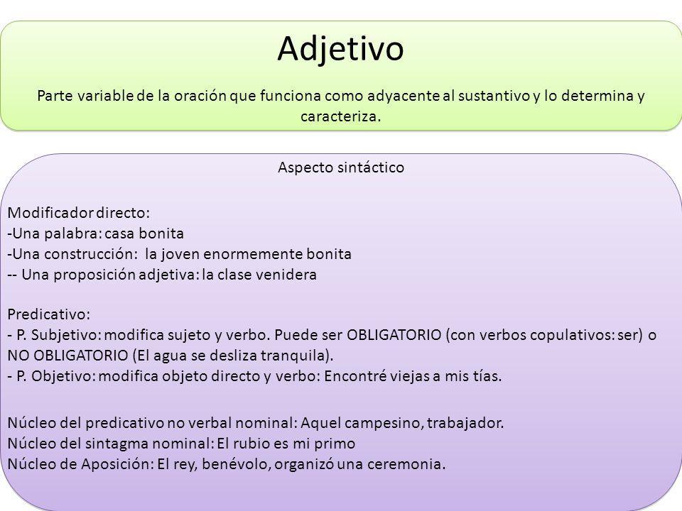 Adjetivo Parte variable de la oración que funciona como adyacente al sustantivo y lo determina y caracteriza. Aspecto sintáctico Modificador directo: