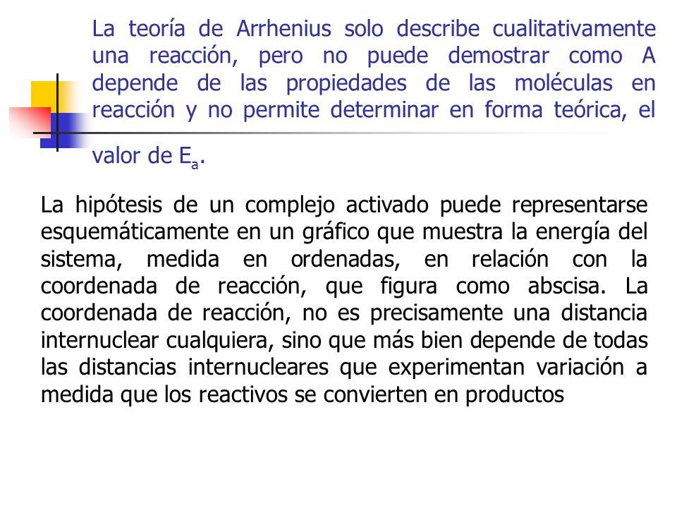 La teoría de Arrhenius solo describe cualitativamente una reacción, pero no puede demostrar como A depende de las propiedades de las moléculas en reac