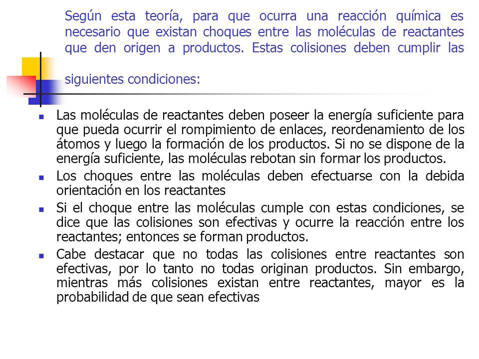 Según esta teoría, para que ocurra una reacción química es necesario que existan choques entre las moléculas de reactantes que den origen a productos.