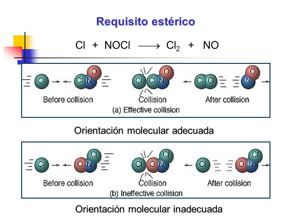 Requisito estérico Cl + NOCl Cl 2 + NO Orientación molecular adecuada Orientación molecular inadecuada