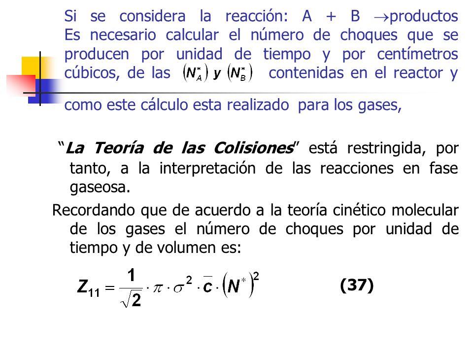 Si se considera la reacción: A + B productos Es necesario calcular el número de choques que se producen por unidad de tiempo y por centímetros cúbicos