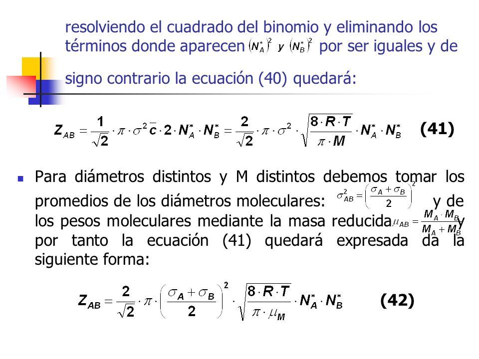 resolviendo el cuadrado del binomio y eliminando los términos donde aparecen por ser iguales y de signo contrario la ecuación (40) quedará: Para diáme