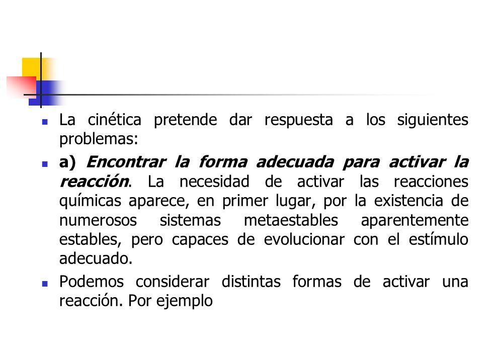 La cinética pretende dar respuesta a los siguientes problemas: a) Encontrar la forma adecuada para activar la reacción. La necesidad de activar las re