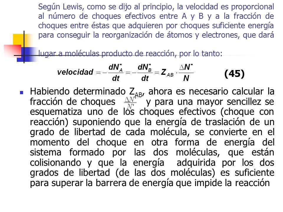 Según Lewis, como se dijo al principio, la velocidad es proporcional al número de choques efectivos entre A y B y a la fracción de choques entre éstas