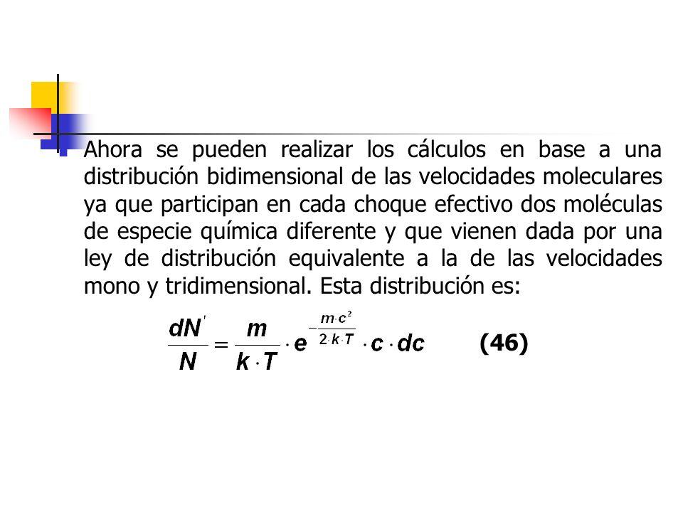 Ahora se pueden realizar los cálculos en base a una distribución bidimensional de las velocidades moleculares ya que participan en cada choque efectiv