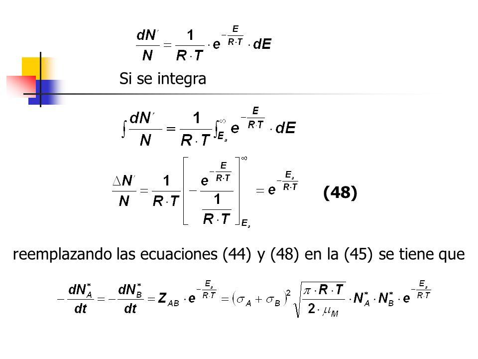 Si se integra reemplazando las ecuaciones (44) y (48) en la (45) se tiene que (48)