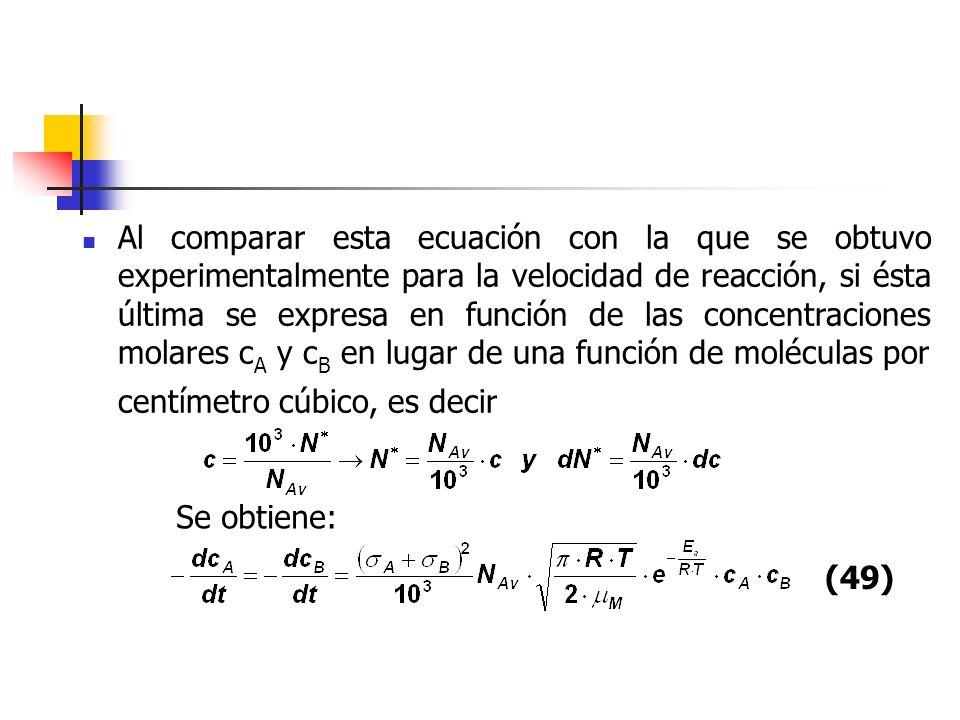 Al comparar esta ecuación con la que se obtuvo experimentalmente para la velocidad de reacción, si ésta última se expresa en función de las concentrac