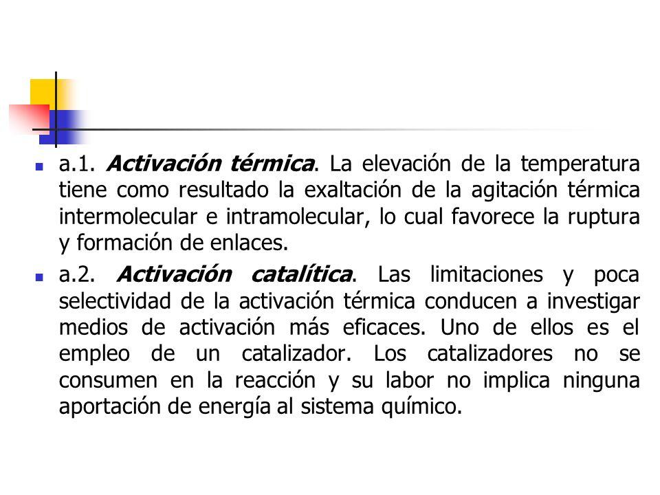 a.1. Activación térmica. La elevación de la temperatura tiene como resultado la exaltación de la agitación térmica intermolecular e intramolecular, lo