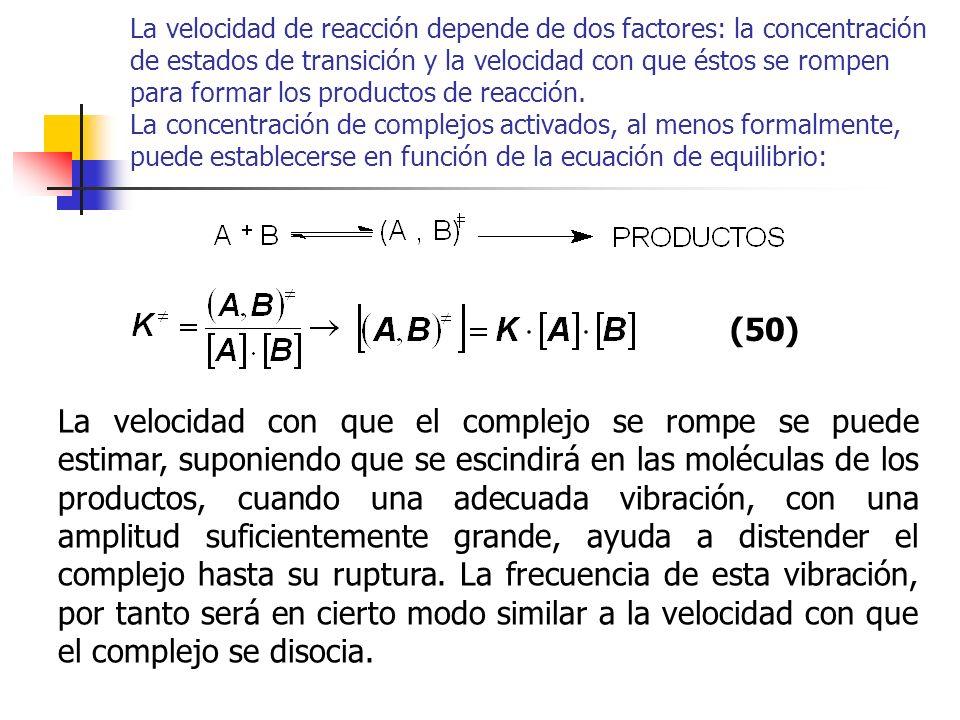 La velocidad de reacción depende de dos factores: la concentración de estados de transición y la velocidad con que éstos se rompen para formar los pro