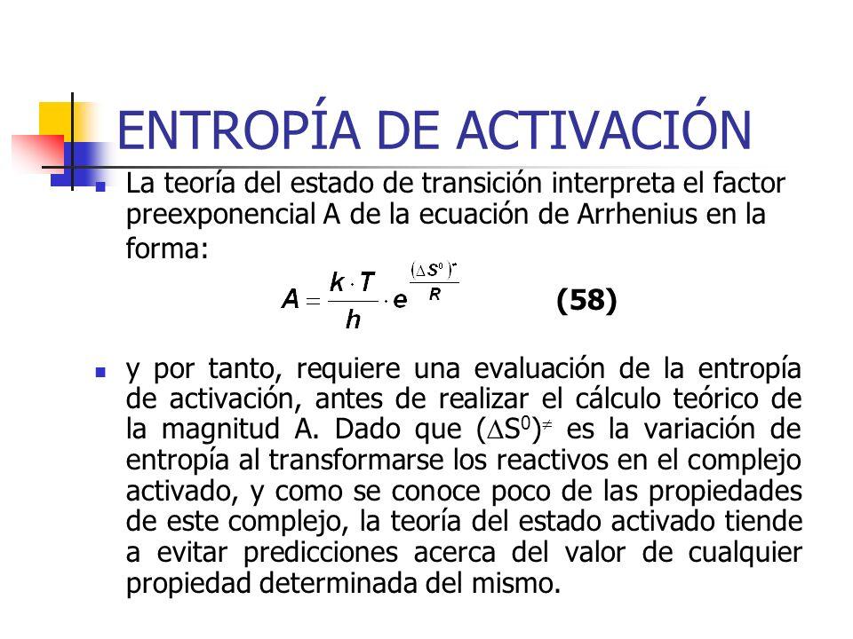 ENTROPÍA DE ACTIVACIÓN La teoría del estado de transición interpreta el factor preexponencial A de la ecuación de Arrhenius en la forma: y por tanto,