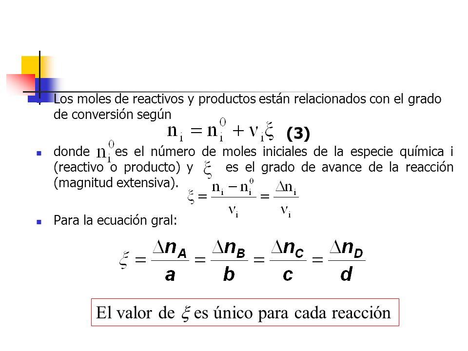 Los moles de reactivos y productos están relacionados con el grado de conversión según donde es el número de moles iniciales de la especie química i (
