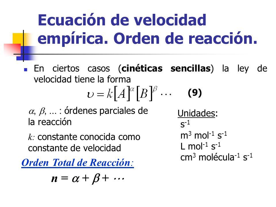 En ciertos casos (cinéticas sencillas) la ley de velocidad tiene la forma,,... : órdenes parciales de la reacción k: constante conocida como constante