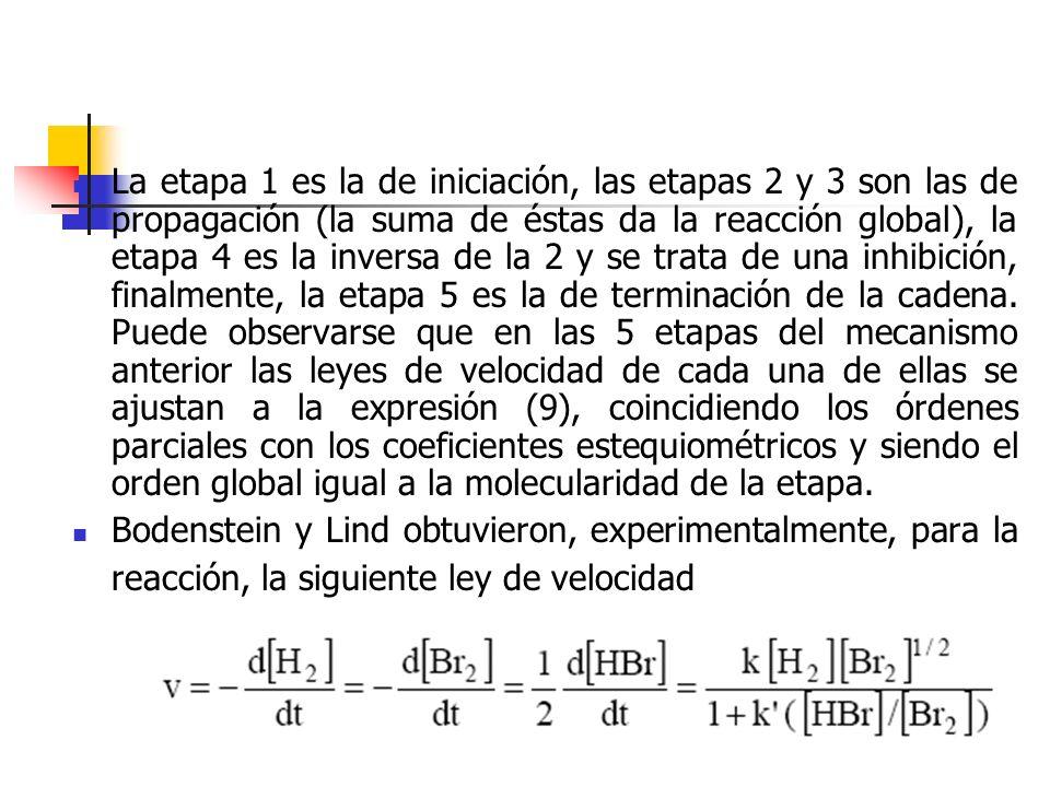 La etapa 1 es la de iniciación, las etapas 2 y 3 son las de propagación (la suma de éstas da la reacción global), la etapa 4 es la inversa de la 2 y s