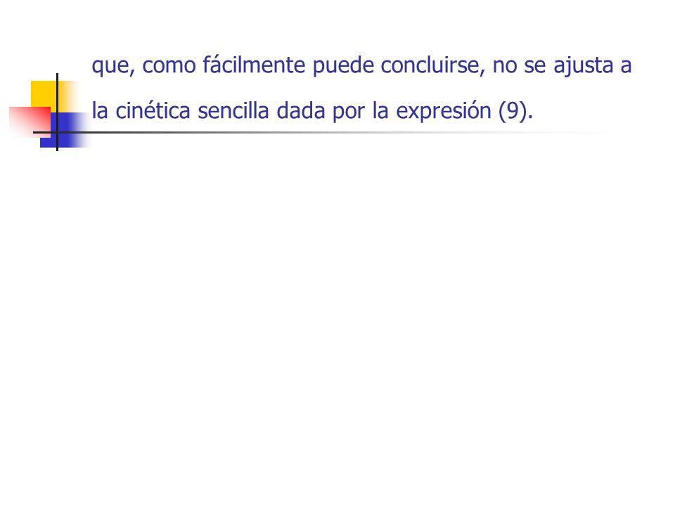 que, como fácilmente puede concluirse, no se ajusta a la cinética sencilla dada por la expresión (9).