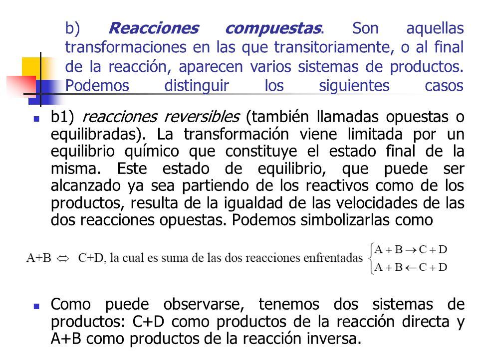 b) Reacciones compuestas. Son aquellas transformaciones en las que transitoriamente, o al final de la reacción, aparecen varios sistemas de productos.
