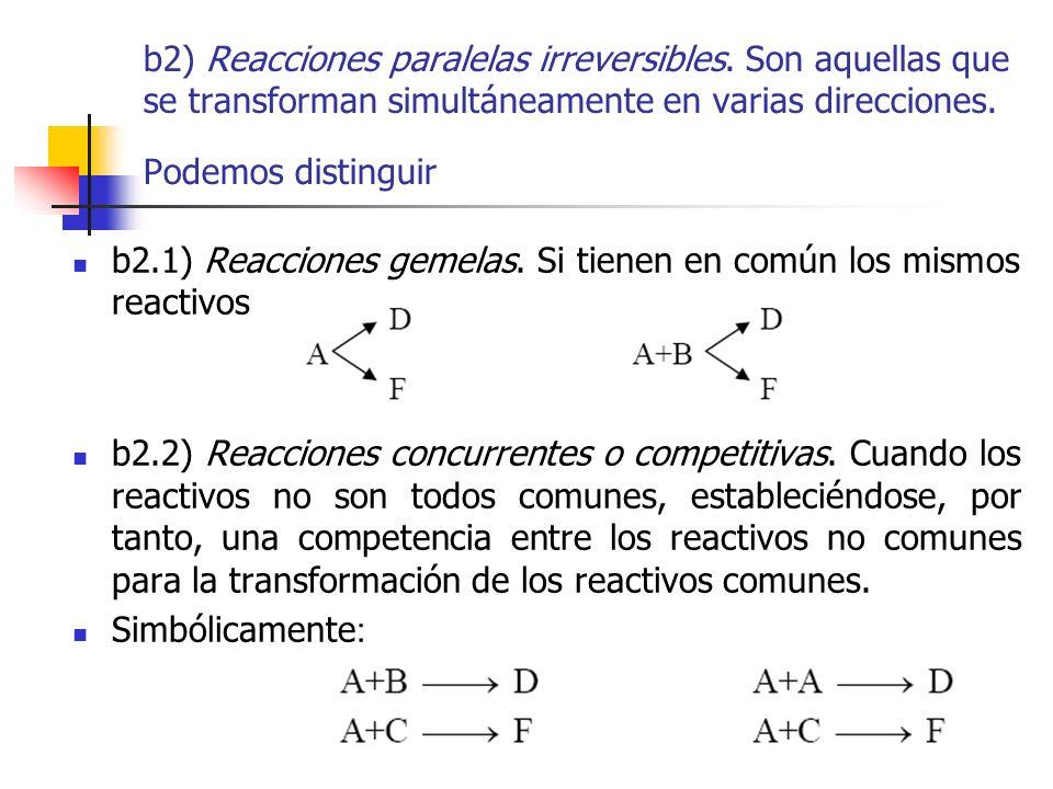 b2) Reacciones paralelas irreversibles. Son aquellas que se transforman simultáneamente en varias direcciones. Podemos distinguir b2.1) Reacciones gem