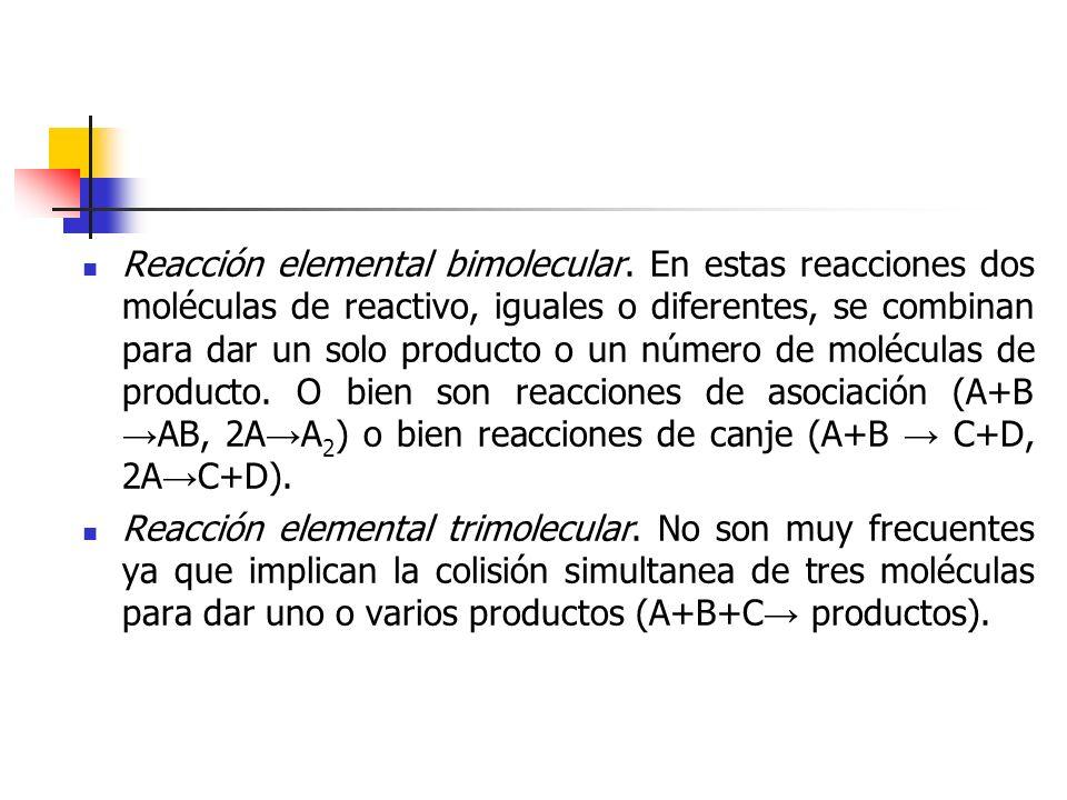 Reacción elemental bimolecular. En estas reacciones dos moléculas de reactivo, iguales o diferentes, se combinan para dar un solo producto o un número