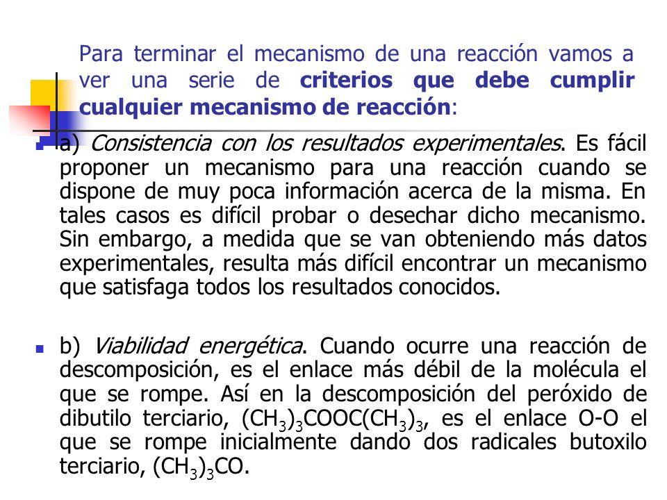 Para terminar el mecanismo de una reacción vamos a ver una serie de criterios que debe cumplir cualquier mecanismo de reacción: a) Consistencia con lo
