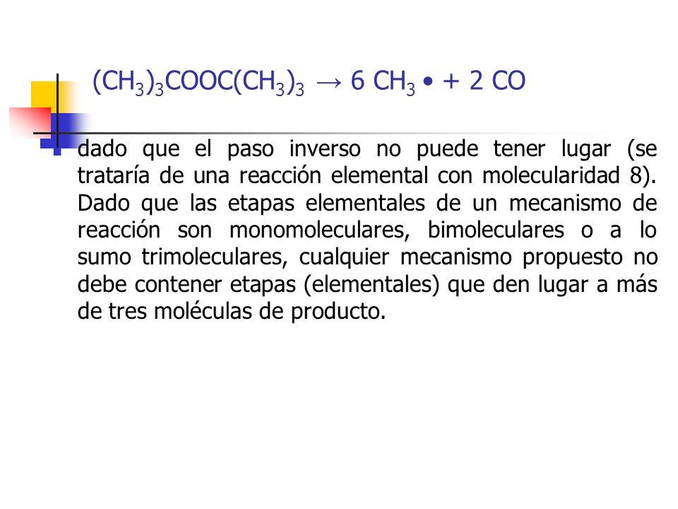 (CH 3 ) 3 COOC(CH 3 ) 3 6 CH 3 + 2 CO dado que el paso inverso no puede tener lugar (se trataría de una reacción elemental con molecularidad 8). Dado