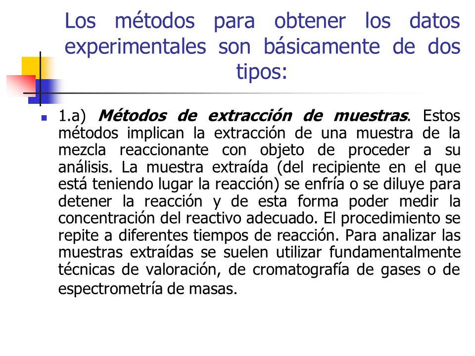 Los métodos para obtener los datos experimentales son básicamente de dos tipos: 1.a) Métodos de extracción de muestras. Estos métodos implican la extr