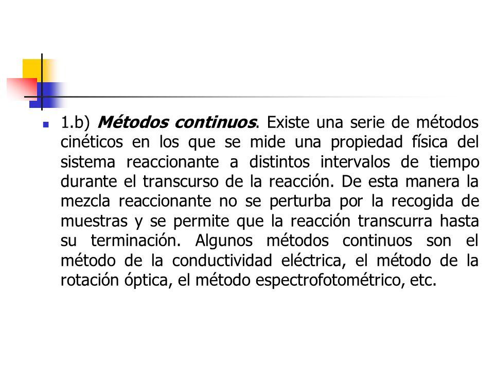 1.b) Métodos continuos. Existe una serie de métodos cinéticos en los que se mide una propiedad física del sistema reaccionante a distintos intervalos