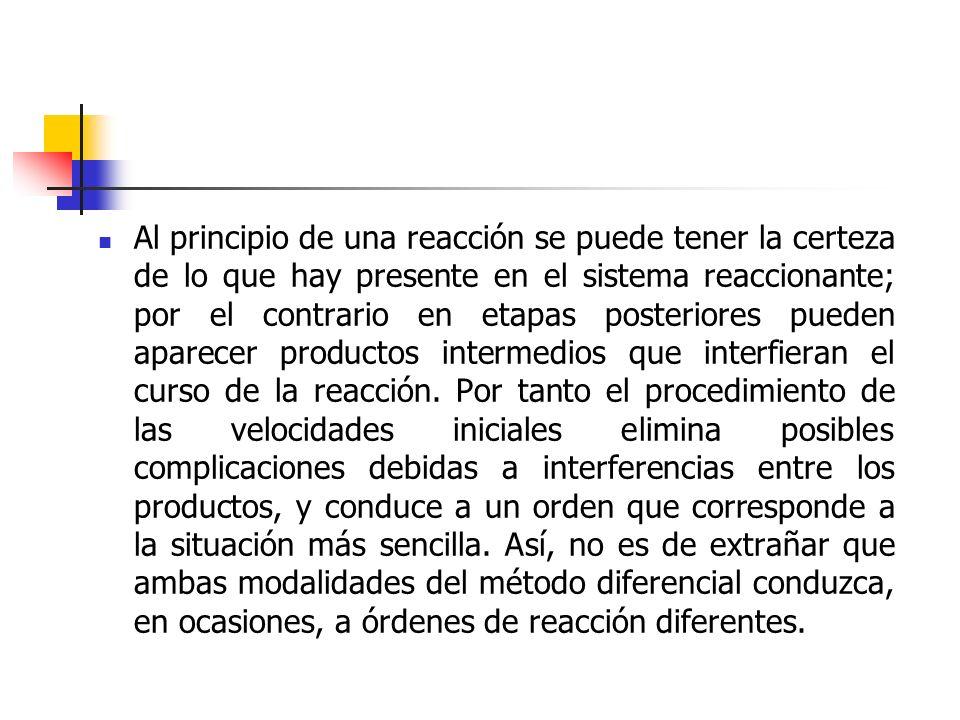 Al principio de una reacción se puede tener la certeza de lo que hay presente en el sistema reaccionante; por el contrario en etapas posteriores puede