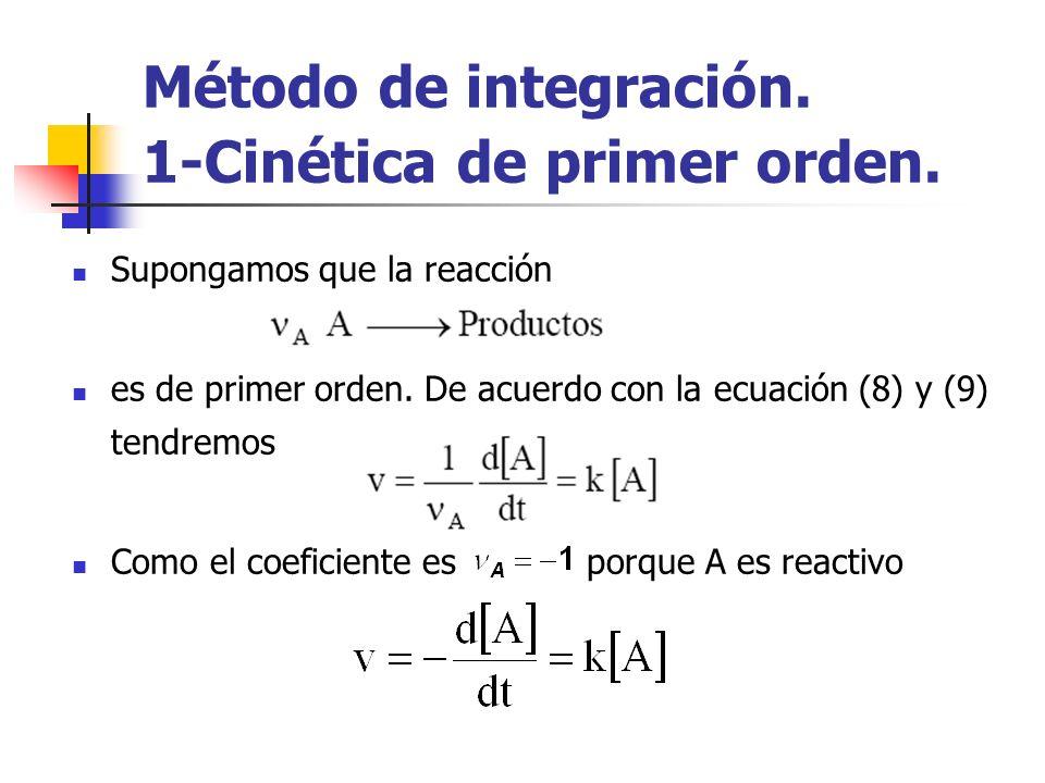 Método de integración. 1-Cinética de primer orden. Supongamos que la reacción es de primer orden. De acuerdo con la ecuación (8) y (9) tendremos Como