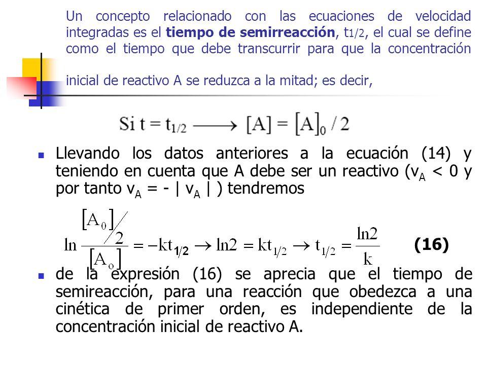Un concepto relacionado con las ecuaciones de velocidad integradas es el tiempo de semirreacción, t 1/2, el cual se define como el tiempo que debe tra