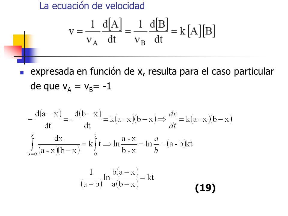 La ecuación de velocidad expresada en función de x, resulta para el caso particular de que ν A = ν B = -1 (19)