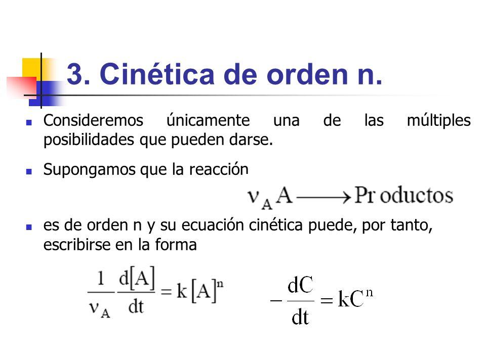 3. Cinética de orden n. Consideremos únicamente una de las múltiples posibilidades que pueden darse. Supongamos que la reacción es de orden n y su ecu