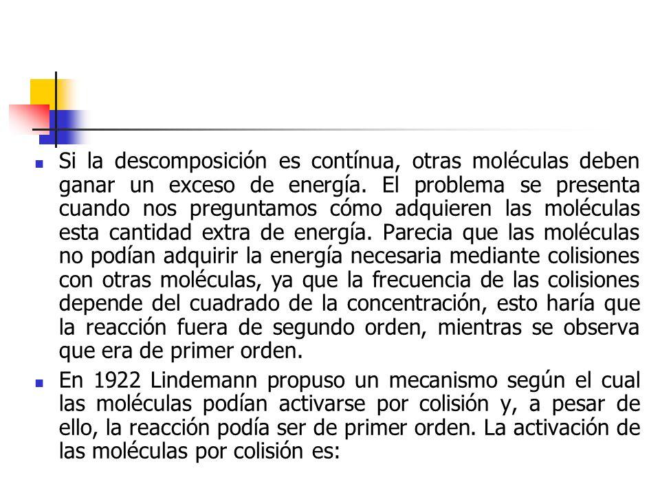 Si la descomposición es contínua, otras moléculas deben ganar un exceso de energía. El problema se presenta cuando nos preguntamos cómo adquieren las
